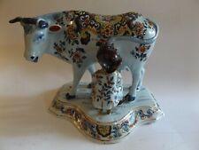 Marvelous 18th Antique Century Dutch Delft Cow Figurine with Milker