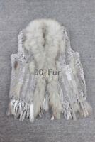 Real Knit Rabbit Fur Vest With Raccoon Fur Collar Gilet Tassels Fur Waistcoat