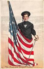 The Stars & Stripes Forever Flag Military Ships Patriotic Embossed Postcard 1912