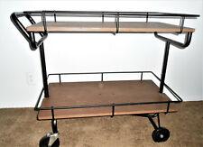 Large Commanding INDUSTRIAL Rolling Cart Bar Cart Wood & Black Metal $140