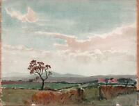 GEORGE GRAINGER SMITH Watercolour Painting LANDSCAPE IN THE WIRRAL c1930