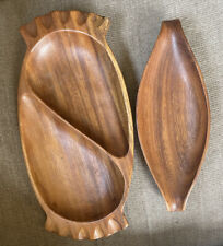 Lot Of 2 Monkey Wood Trays Handmade In The Philippines