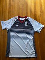 Mens Mi Adidas Tiro Team Custom Jersey Grey Red White Estudiantes M