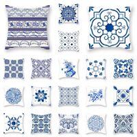 Geometric Pillowcase Cushion Cover Blue Linen Throw Pillow Case Home Sofa Decor