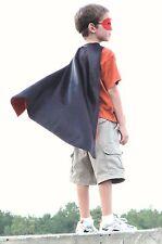 New 10 Kid's Red Black Super Hero Kits Superhero Cape Mask Cuff Lightning Bolt