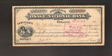 BANK CHECK  Osage National Bank Iowa dd 1880/1890s with Dog Vignette