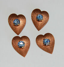 VINTAGE 4 COPPER HEART SAPPHIRE RHINESTONE BEAD CHARM 15mm SWAROVSKI ELEMENTS