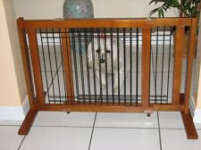 """Crown Pet Freestanding Wood/Wire Pet Gate/Fence, Rubberwood 21"""" High -Large Span"""