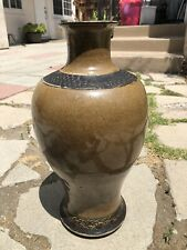 "18"" LARGE 18/19th C Antique Chinese Crackled Glaze Celadon Porcelain Vase SIGNED"