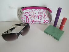 TWO (2) BREAST CANCER AWARENESS NEOPRENE EYEGLASS OR MISCELLANEOUS ZIPPER BAGS