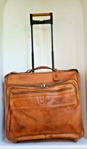 "HARTMANN Mobile Traveler 41"" Garment Bag Wheeled BROWN / Tan Belting Leather Bag"