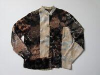 Citron Santa Monica Velvet Burnout Patchwork Floral Asian Topper Jacket Top S