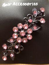 A Beautiful Rosa con pedrería Flor pasador horquilla de metal