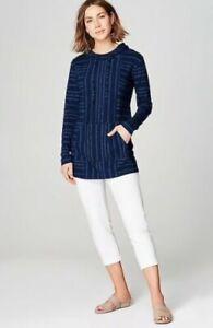 J. Jill ~ 3X ~ NEW Excellent Pure Jill Indigo Knit Printed Hoodie ~ NWT $109