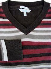 FAT FACE Jumper Mens M Burgundy Brown & Grey Stripes - TEXTURED