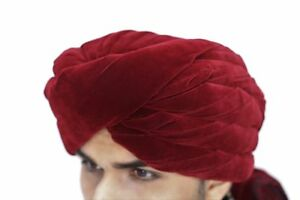 Maroon Velvet Indian Pakistani Wedding Turban Safa Hat Kulla Pagdi with Trail