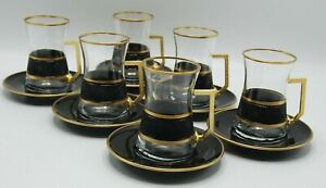 Turkish Tea Glass Set of 6 Cups Glasses Saucers Set with Handle Golden Color