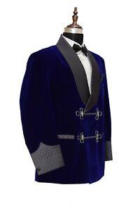 Men Blazer Jackets Velvet Royal Blue Shawl Bilberry Smoking Quilted Coat UK