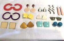Vintage 80s Enamel Earrings Lot Pierced Jewelry Lot of 13 Snakes Geometric