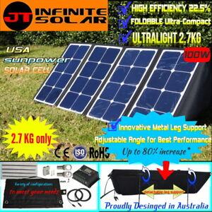 Ultralight 12V 100W FOLDING SOLAR PANEL KIT MONO CAMPING CARAVAN@MPPT CONTROLLER