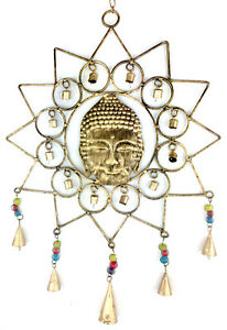 Buddha & Stern … Windspiel Klangspiel Wandbehang … Indien … 17 Glocken … 66x35cm