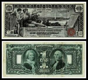 """1896 $1 ONE DOLLAR """"EDUCATIONAL"""" SILVER CERTIFICATE NOTE~VERY FINE"""