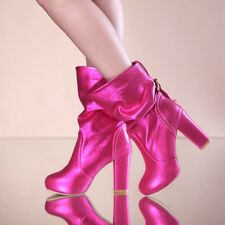 Women Block High Heel Platform Pull On Shiny Glitter Mid Calf Fashion Boot Shoes