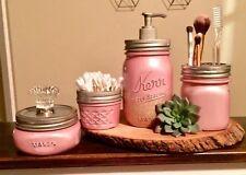 4 Piece Mason Jar Bathroom canister set vintage pastel iridescent pink