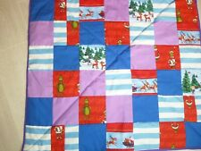 the grinch christmas patchwork sofa/single bed throw/blue/purple/red/ NEW