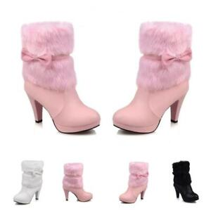 Ladies Bowknot 9cm High Stiletto Fur Trim Womens Mid Calf Boots Casual Winter SZ