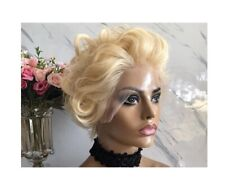 front bang deep curl lace front pixie wavy brazilian Human Hair blonde Wig