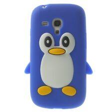 Soft Silikon Case Pinguin Cute 3D Jelly Hülle Blau für Samsung Galaxy S3 Mini