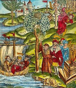 1502 BRANDT Virgil INCUNABULA Woodcut handcol. BEES FAUN GALLEON