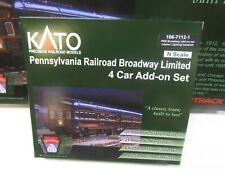 "KATO 106-7112-1 PRR BROADWAY LTD 4 CAR SET ""KOBO"" FACTORY LIGHTING   N SCALE"