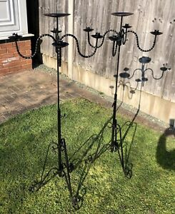 Large Pair Wrought Iron Floor Standing Black Candelabras 5 Arm Height Adjustable