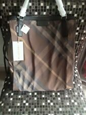 NWT BURBERRY PACKABLE NYLON BIRCH GRAY CHECK BUCKLEIGH PURSE TOTE BAG, Medium