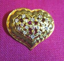 Vintage MONET Shiny Gold Color Metal Clear Crystal Covered Heart Shape Pin Brooc