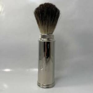 Edwin Jagger Nickel Plated Pure Badger Travel Shaving Brush - by Edwin Jagger (P