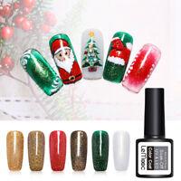 LEMOOC 8ml Nagel Gellack Glitzern Weihnachten Soak Off Nail Art UV Gel Polish