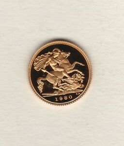 BOXED 1980 GOLD PROOF HALF SOVEREIGN WITH CERTIFICATE IN MINT CONDITION.