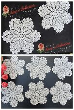 "12Pcs~Vintage Hand Crochet Lace Doily Applique~White~5""~Pineapple/Star/Snowflake"