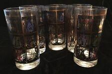 HIGHBALL TUMBLERS SEA SHIP FISHERMANS NET LOT 5 GLASSES VTG MID CENTURY