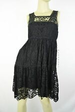 Pinky Black Floral Lace Classic Cute Sleeveless Dress Size S
