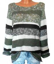 B.C. Damen Pullover Streifen khaki weiß braun GR. 40 42 NEU - P23