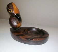 ART DECO DUNHILL YZ MACASSAR WOOD & CHERRY BAKELITE BIRD ASHTRAY