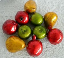 10 Pcs Paper Mache Metallic Holiday Faux Fruit Pomegranate Pear Apple Green Red