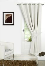 """Thermal Ring Top Eyelet Blackout Pair Curtains Ready Made Fully Lined Tiebacks Cream Door Curtain 66"""" X 84"""""""