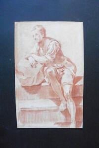 FRENCH SCHOOL 18thC - A JOYFUL YOUNG MAN - RED CHALK DRAWING CIRCLE GREUZE
