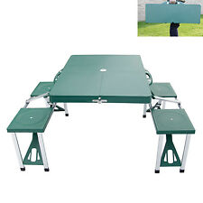 New Portable Folding Camping Picnic Table Set  w/4 Seats Outdoor Garden BBQ