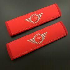 Mini Cooper S Red Seat Belt Shoulder Pads Covers with embroidery 2PCS